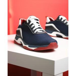 Мужские кроссовки в комбинации текстиль и кожа