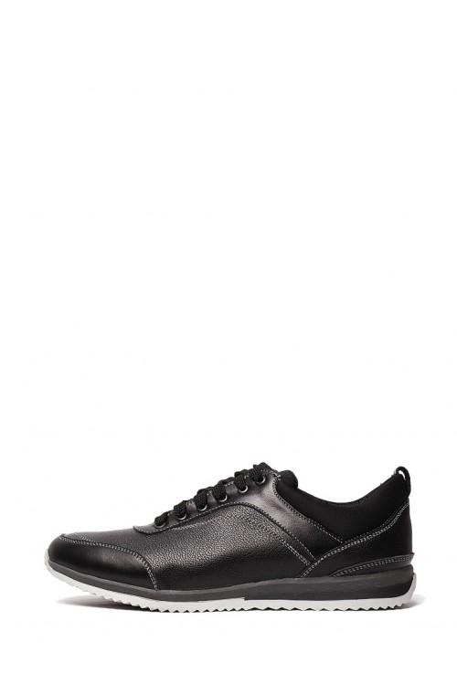 Мужские кожаные кроссовки черные с серой подошвой