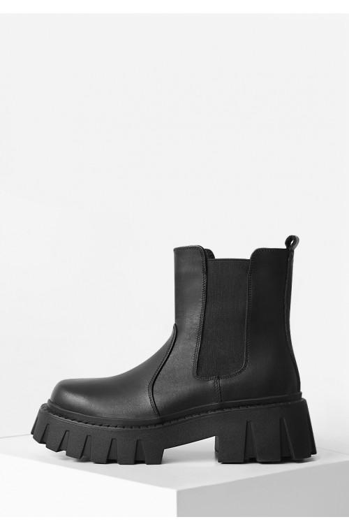 Черные кожаные ботинки без застежек с резинками на платформе
