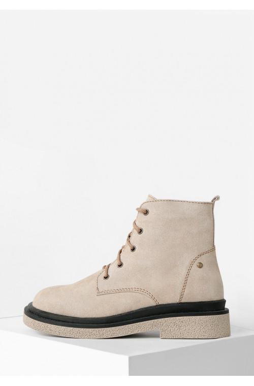 Демисезонные замшевые светлые ботинки на низком ходу