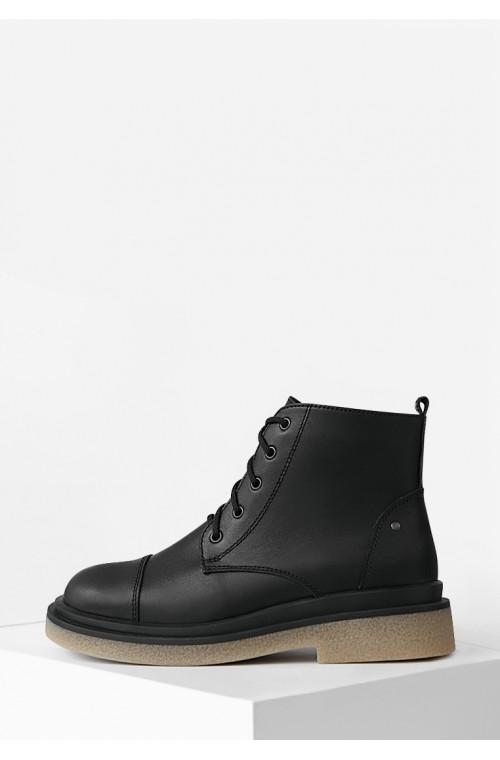 Черные кожаные ботинки на байке со шнурком и молнией