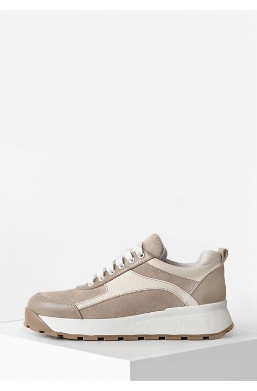 Бежевые женские кроссовки в комбинации натуральной кожи и замши