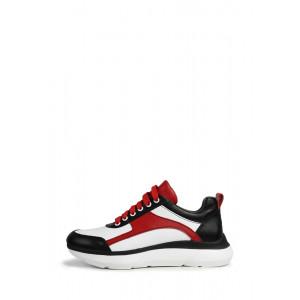 Кожаные кроссовки комбинированные красные белые черные