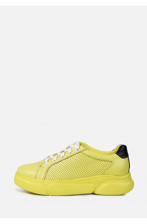 Желтые кожаные перфорированные кроссовки