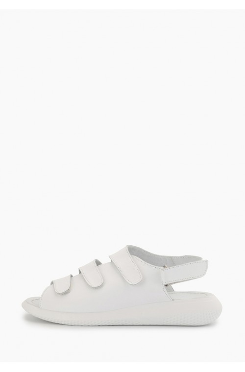 Стильные белые босоножки из натуральной кожи с липучками