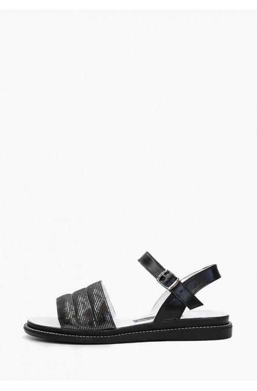 Женские черные кожаные босоножки без каблука