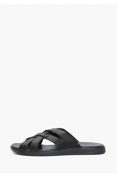 Черные мужские сандали из натуральной кожи