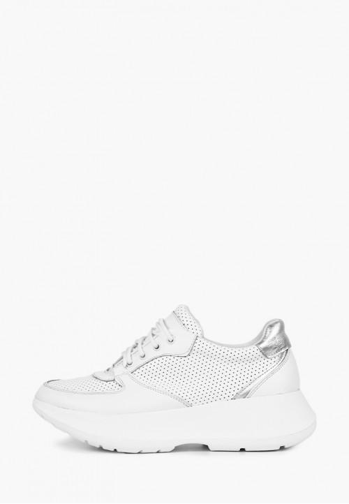 Белые женские кожаные кроссовки с перфорацией