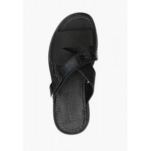 Мужские черные кожаные сандали на лето