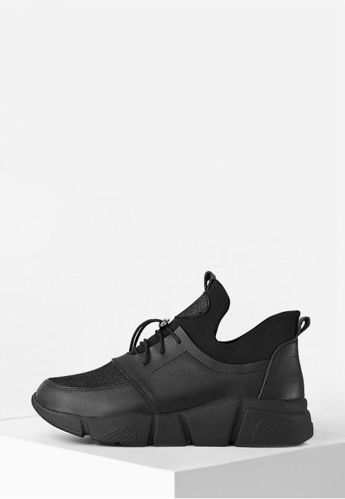 Кожаные черные кроссовки на рельефной подошве со стрейчем
