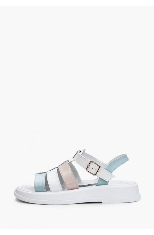 Женские кожаные белые босоножки со цветными вставками