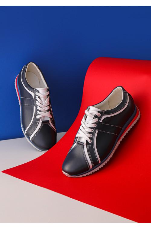 Стильные кожаные мужские кроссовки с разноцветной подошвой