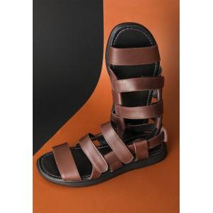 Коричневые кожаные мужские сандали
