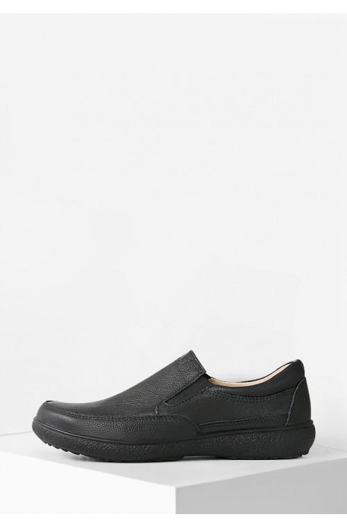 Кожаные мужские комфортные мокасины черного цвета