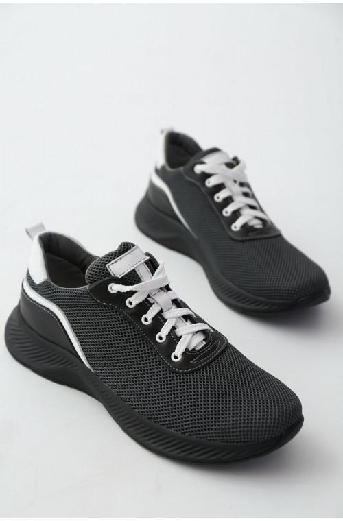 Мужские кроссовки из сетки серого цвета