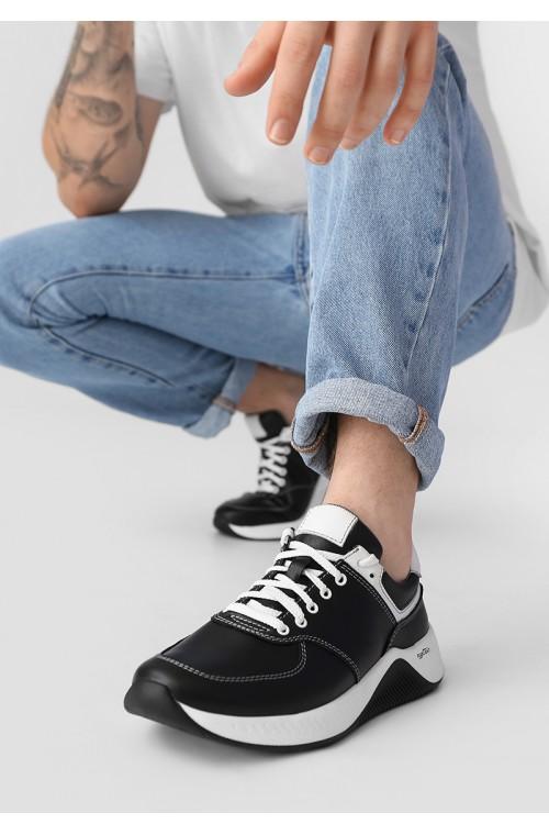 Темный кожаные мужские стильные кроссовки с белыми вставками