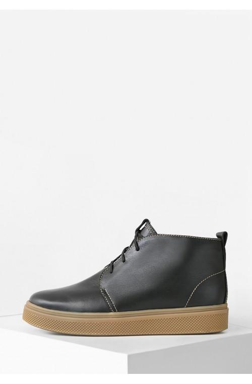 Черные мужские кожаные ботинки на байке