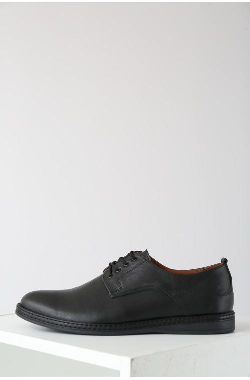 Кожаные классические мужские черные туфли без каблука