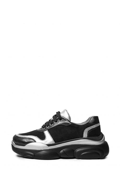 Стильные кроссовки из натуральной кожи черного цвета