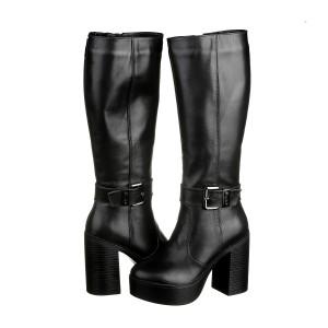 Зимние черные сапоги на каблуке