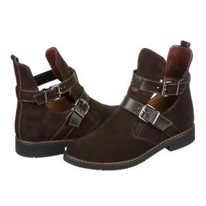 Коричневые замшевые ботинки на низком ходу