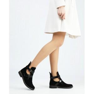 Черные замшевые ботинки на низком ходу