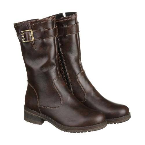 Кожаные коричневые сапоги на низком каблуке с пряжкой