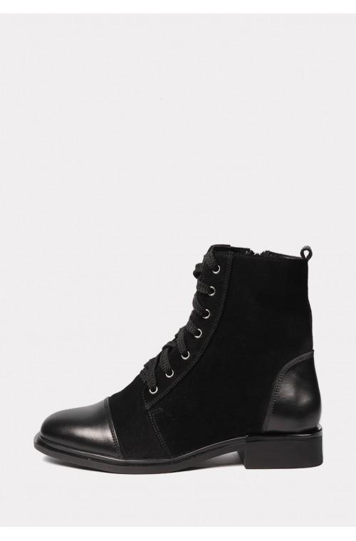Замшевые зимние ботинки с кожаным носком