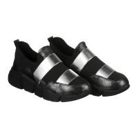 Черные кроссовки со стрейчем и вставками серебряного цвета