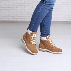 Зимние рыжие ботинки женские