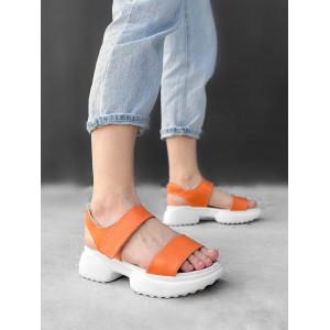 Кожаные оранжевые спортивные босоножки
