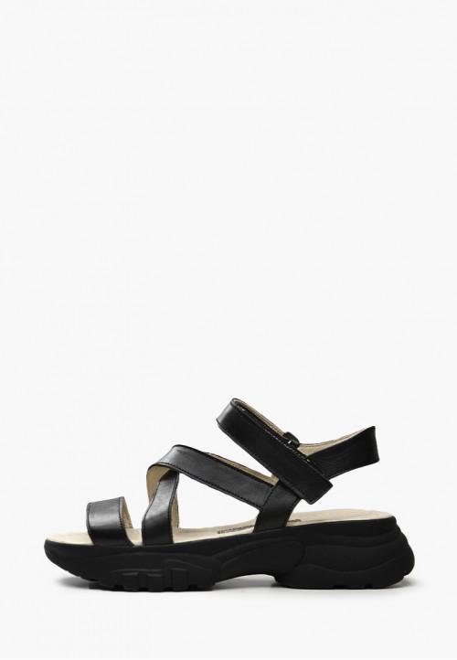 Кожаные черные босоножки с пряжками