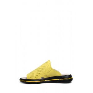 Кожаные желтые шлепанцы с перфорацией