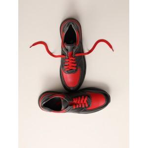 Кроссовки из натуральной кожи красного цвета с черными вставками