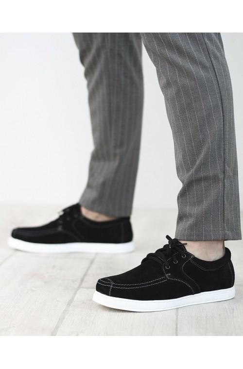 Замшевые черные кеды со шнурком