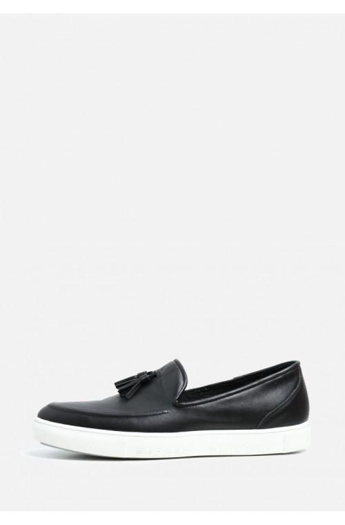 Мужские кожаные черные слипоны без шнурков на белой подошве