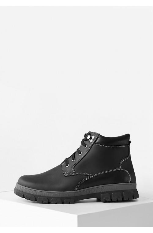 Зимние мужские черные ботинки из натуральной кожи