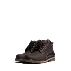 Высокие зимние мужские кожаные ботинки на нескользящей подошве