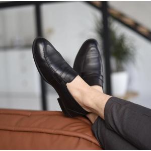 Кожаные мужские черные туфли без шнурков