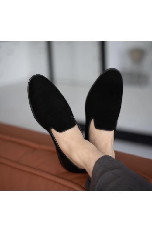 Мужские замшевые стильные туфли с кожаным подкладом без шнурков