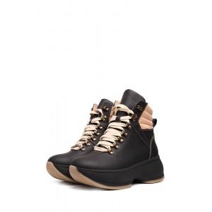 Спортивные кожаные ботинки на платформе