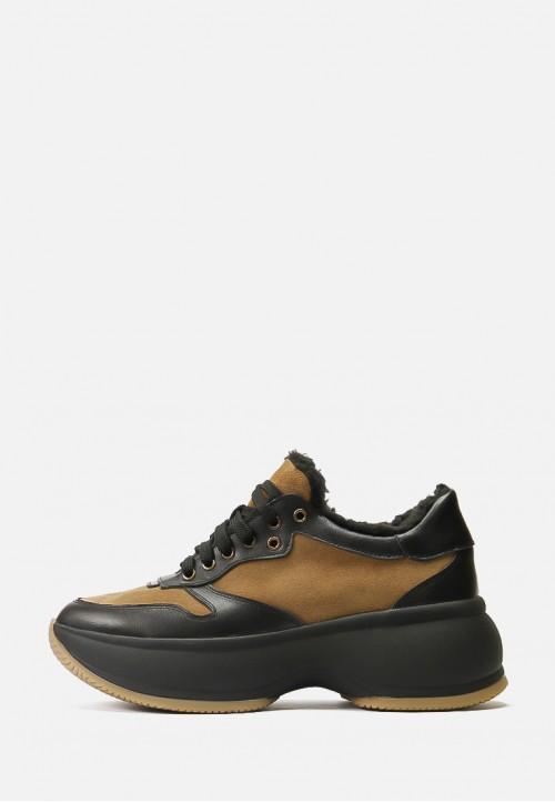 Зимние кожаные кроссовки на меху