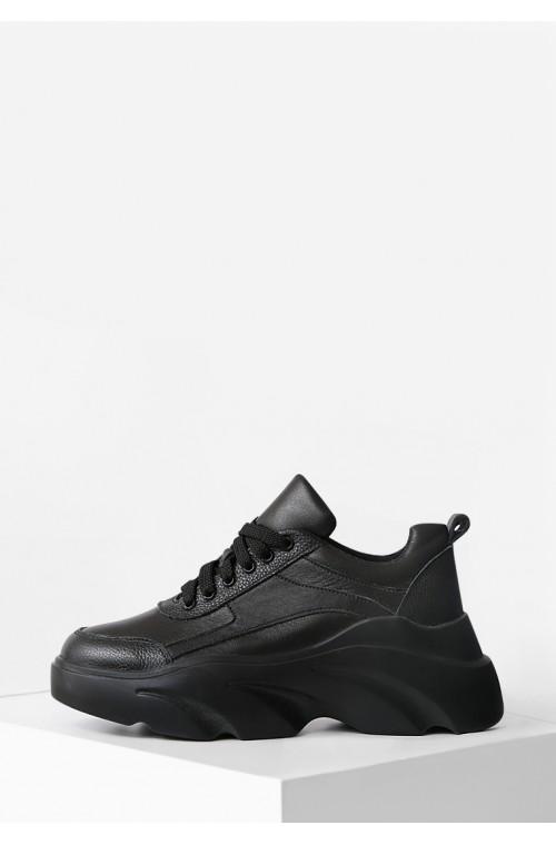 Стильные кожаные черные кроссовки на высокой платформе