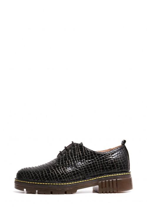 Темные закрытые туфли на шнурках с золотистым отливом