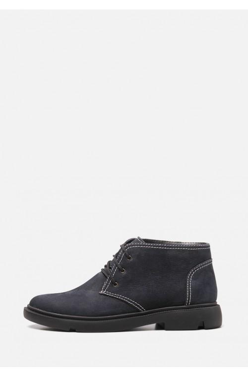 Короткие зимние синие ботинки на низком ходу