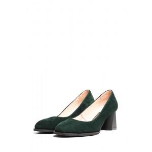 Замшевые туфли зеленого цвета на каблуке