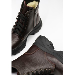 Бордовые зимние ботинки из натуральной кожи