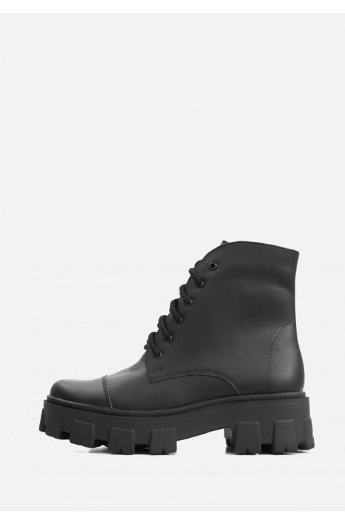 Массивные ботинки в коже черного цвета с шнурком и молнией