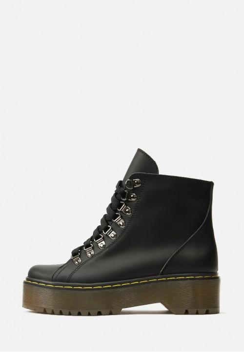 Черные кожаные осенне-весенние ботинки на платформе