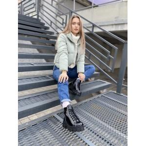 Лаковые черные зимние ботинки со шнурком и молнией